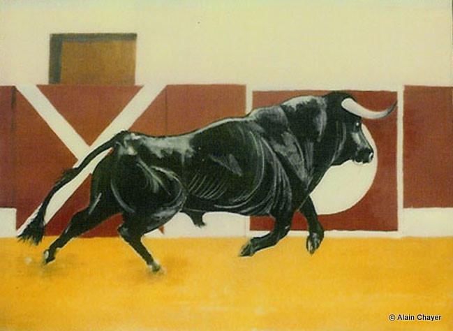 010 - Le Taureau - 1991   92 x 65 - Acrylique sur toile