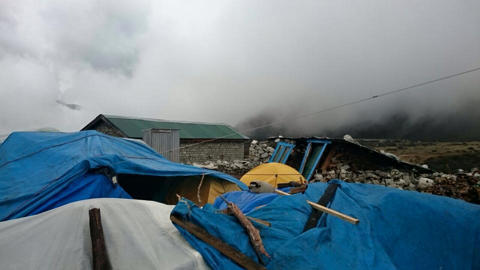 Tarps sheltering residents in Solu Khumbu. Photo by Charok Lama.
