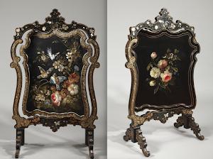 Антикварная ширма. 19-й век. Дерево, чёрный лак, перламутр, позолота. 65/39/106 см. 7900 евро.