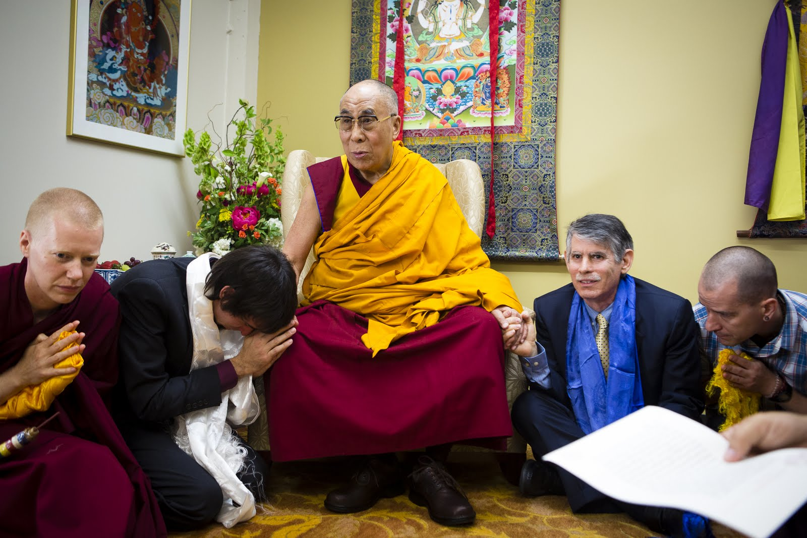 Ven. Holly Ansett, Tenzin Ösel Hita, His Holiness the Dalai Lama, FPMT International Office Director of Operations and Director of FPMT Education Services Tom Truty. Photo by Leah Nash.