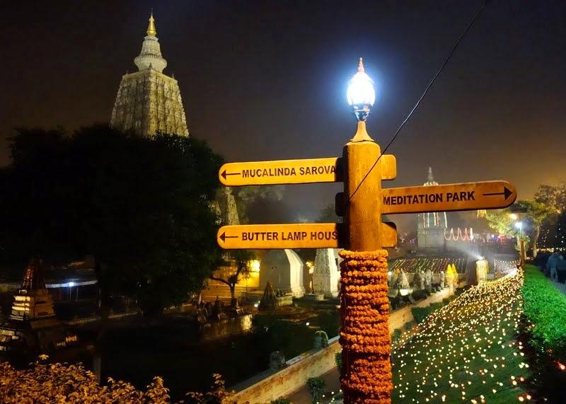 Mahabodhi Temple and grounds at night, Bodhgaya, India, January 2014. Photo by Ven. Roger Kunsang.