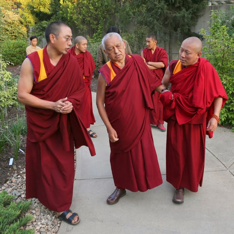 (From left) Geshe Sangpo, Lama Zopa Rinpoche and Geshe Tenley, Raleigh, North Carolina, US, May 2, 2014. Photo by Ven. Thubten Kunsang.