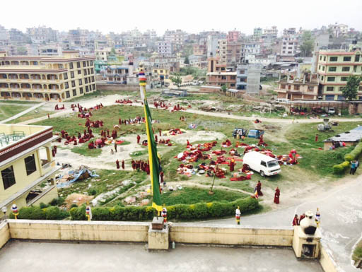 Grounds at Kopan Nunnery after earthquake, Kathmandu, Nepal, April 2015. Photo by Ven. Sangpo Sherpa.