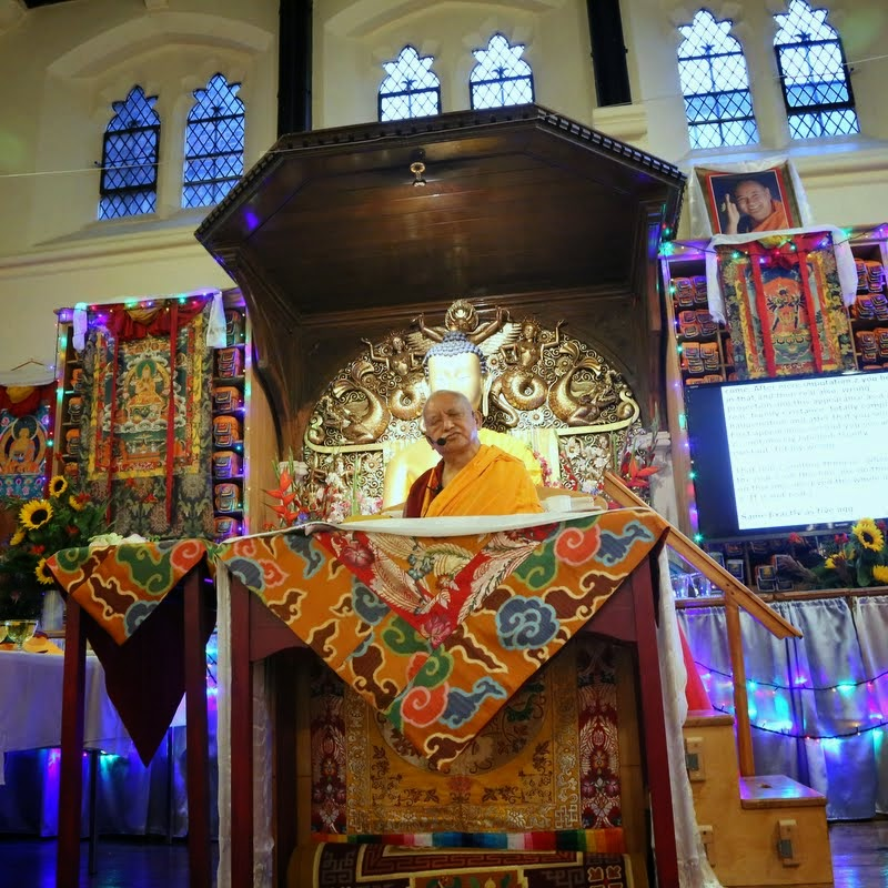 Lama Zopa Rinpoche teaching at Jamyang Buddhist Centre, London, UK, July 2014. Photo by Ven. Thubten Kunsang.