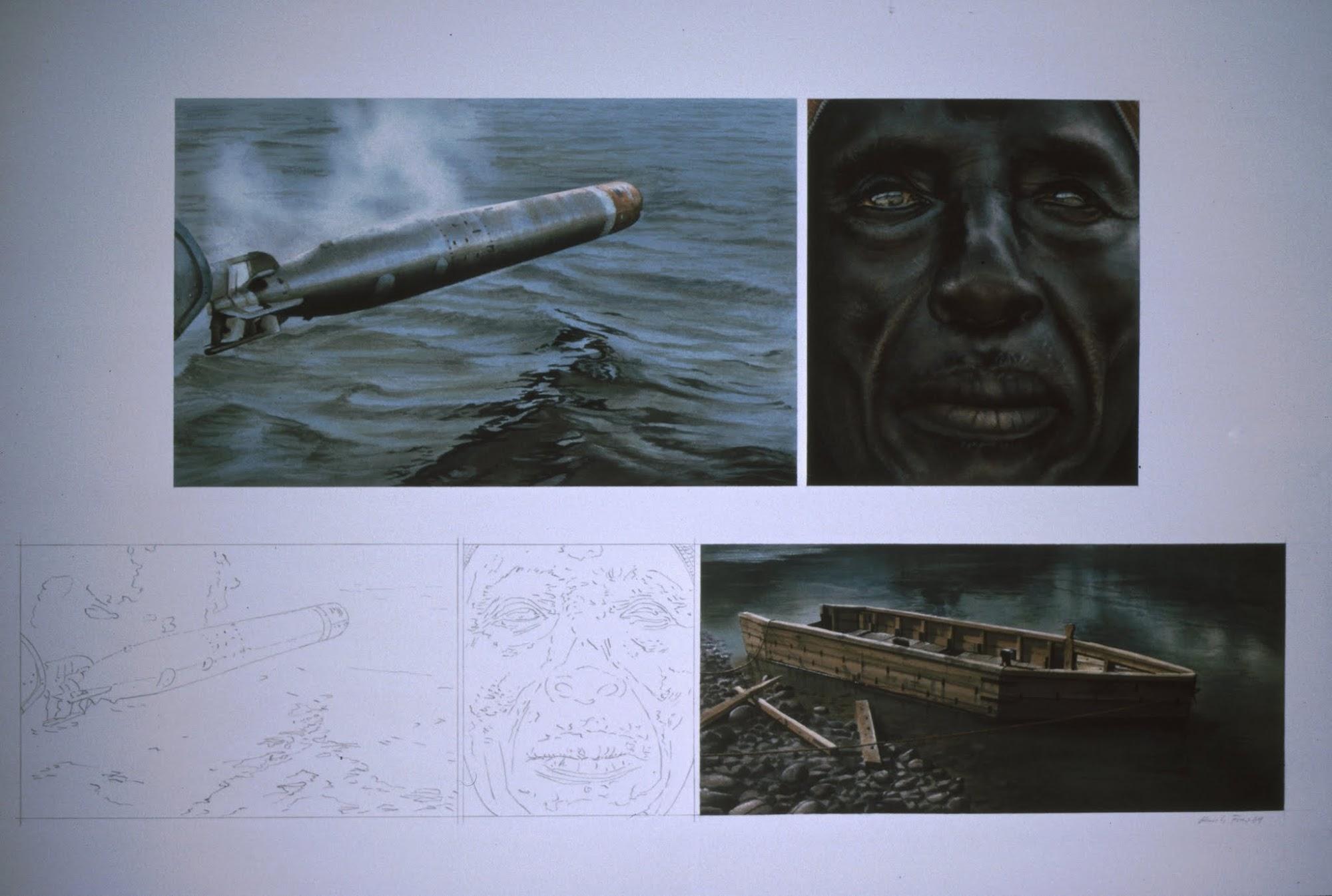 Gespiegelte Ereignisse   1989   Aquarell   3-teilig   50 x 80 cm