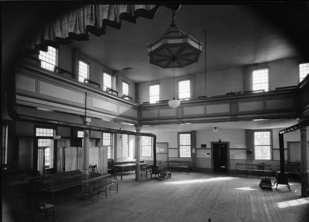 Interior of the Strafford Meetinghouse.