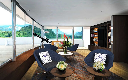 Scenic-Spirit-observation-deck - The observation deck on Scenic Spirit. The  new luxury river ship sails on voyages along the Mekong River between Cambodia and Vietnam.