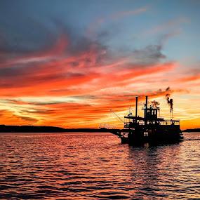 A Belle Sunset by Rick Shick - Landscapes Sunsets & Sunrises ( steamboat, sunset, boat, chautauqua )