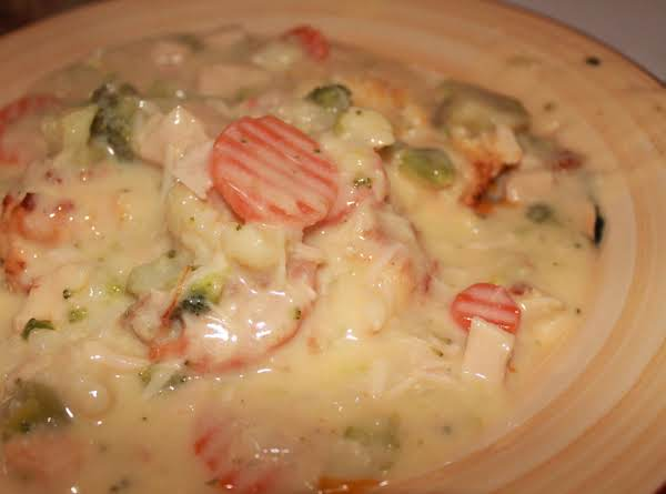 Creamed Chicken And Veggies Over Cheese Biscuits