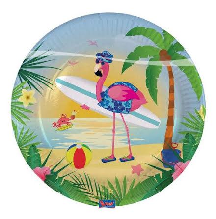 Tallrik, flamingo 8st