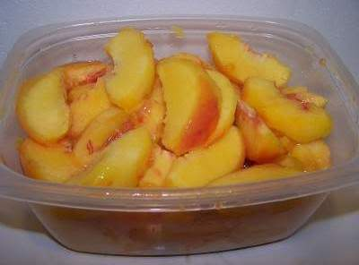 In a medium microwave safe bowl, add the butter, diced peaches and preserves. Place...