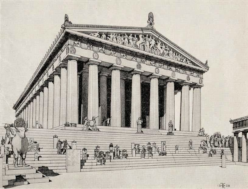 Δομή του Παρθενώνα ναού της Θεάς Αθηνάς,Structure of the Parthenon Temple of the Goddess Athena.