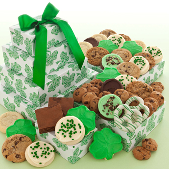 Photo: St Patricks Day Green Clover Cookies, Brownies and Pretzels Gift Tower