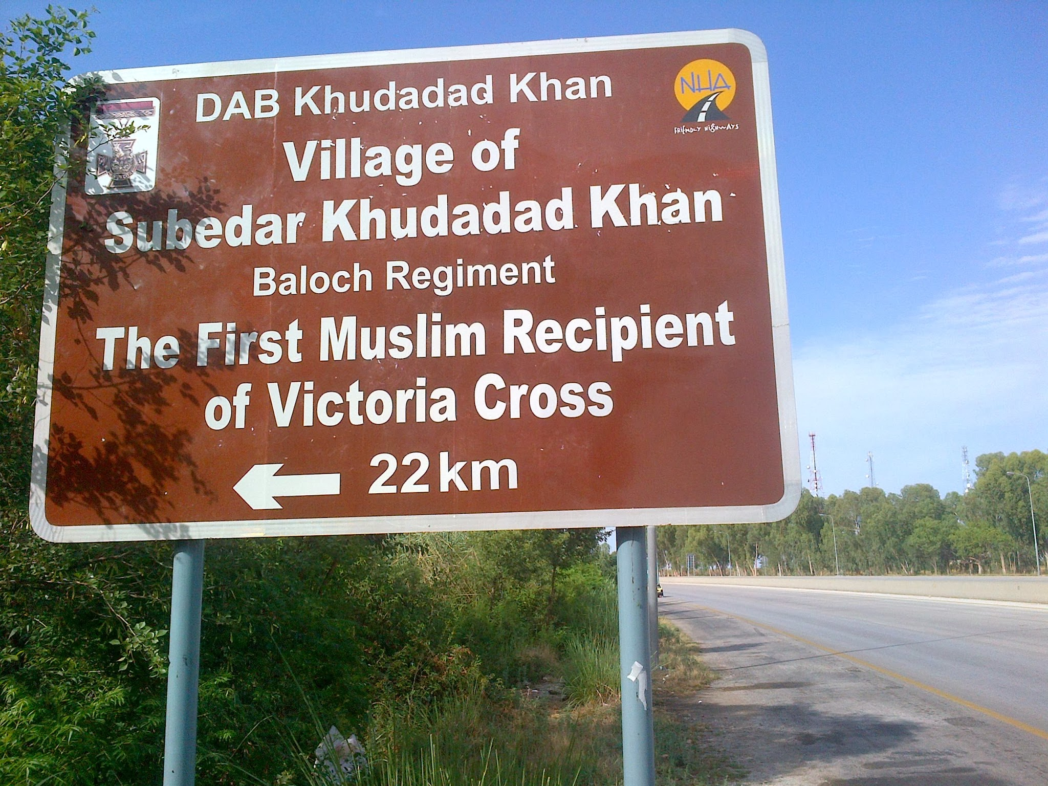 Signboard on M2 near Chakwal