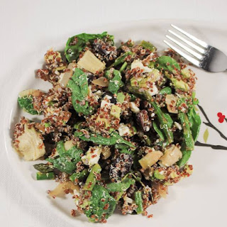 Mediterranean Asparagus and Quinoa Salad with Artichokes, Avocado and Feta Cheese.