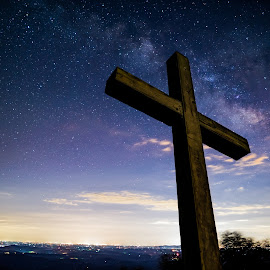 The Wonderful Cross by Tom Moors - Public Holidays Easter ( god, church, stars, jesus, night, astrophotography, chapel, universe, milky way, cross )