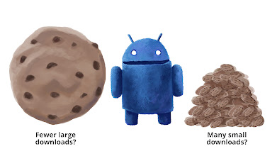 "Photo: The Cookie Droid Conundrum: Eat ""lots of little cookies"" -- initiating lots of small transfers as required, or ""one big cookie"" -- scheduling few, large, and preemptive downloads?"