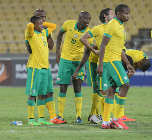 Bafana Bafana players react.