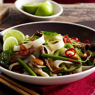 Lamb, Almond and Noodle Stir-Fry.