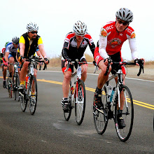 Photo: Event Photo - Carl (red) me, and Max (yellow highlights)  in a fast paceline on Rt 1 near Stinson Beach