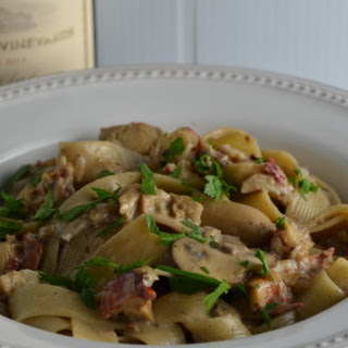 Autumn Pappardelle with Lobster, Mushrooms, Shallots, and Cream.
