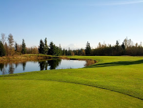 Photo: Druids Glen 9th Hole. Looking from the green back towards the tee.
