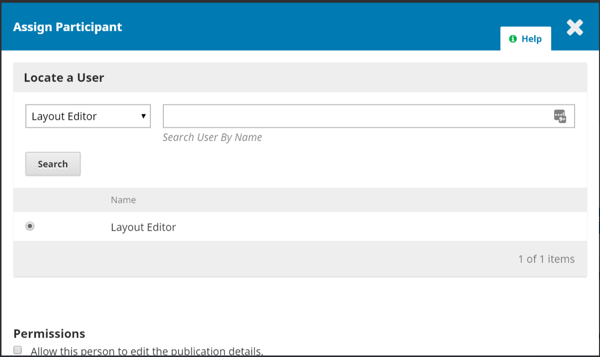 New window to assign participants such as Layout Editor.