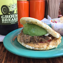Pulled pork arepa and gf IPA!