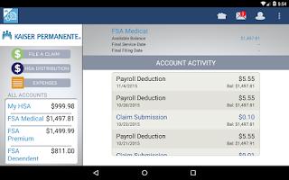 Screenshot of KP HRA/HSA/FSA Balance Tracker