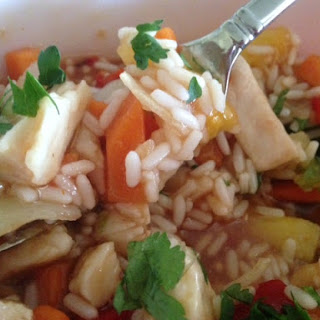 SWEET and SOUR CHICKEN * Asian inspired sauce * bell pepper, carrot, pineapple * with white rice