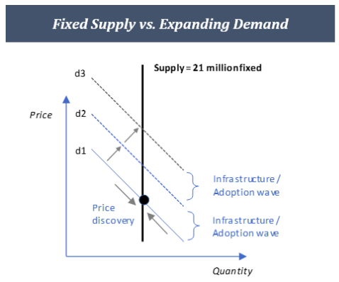 Demand curve prospective changes in Bitcoin with fixed supply.