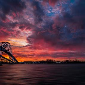 Break of Dawn by John Witt - Landscapes Sunsets & Sunrises ( sky, grand island bridges, sunrise, niagara river, river )