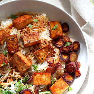 Baked Chili Garlic Tofu, Carrot, Chard and Noodle Bowls.
