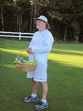Photo: Bill (Club President) with prize basket
