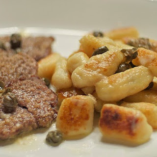 Wild Boar Scallopini & Fried Gnocchi with a Butter Caper Sauce