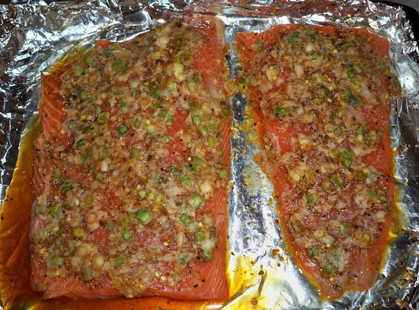 Salmon marinating before cooking.