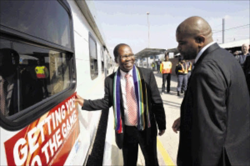 WARNS: transport Minister Sbu Ndebele at the launch of the refurbished Orlando Station in Soweto by THE PASSENGER RAIL AGENCY OF SOUTH AFRICA. Pic. Antonio Muchave. 10/06/2010. © Sowetan.