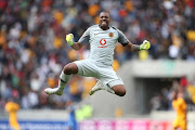 Kaizer Chiefs captain Itumeleng Khune celebrates Kaizer Chiefs second goal during the Absa Premiership match between Cape Town City FC and Kaizer Chiefs at Cape Town Stadium on September 15, 2018 in Cape Town, South Africa.