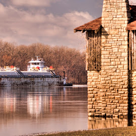 Working the River by Greg Bennett - Transportation Boats ( grafton, illinois river, illinois, barge, fall, piere marquette park, tug boat )
