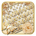 Gold Pearls Diamond Butterfly Keyboard Theme