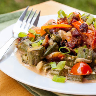Okra, Tomatoes and Bacon Saute