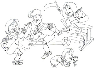 Photo: The Marketing Director had three kids. I drew this cartoon of her cheering them on. (she also loved to golf).