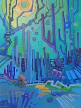 "Photo: ""Mythic Garden"", acrylic on canvas 16"" x 12"", © Nancy Roberts"