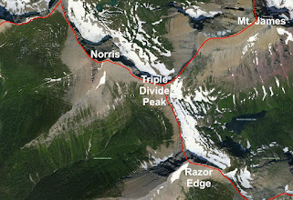 Photo: The Continental Divide Runs from lower right to upper left. The Hudson Bay (Laurentian) divide runs from Triple Divide Peak toward Mt. James and beyond.