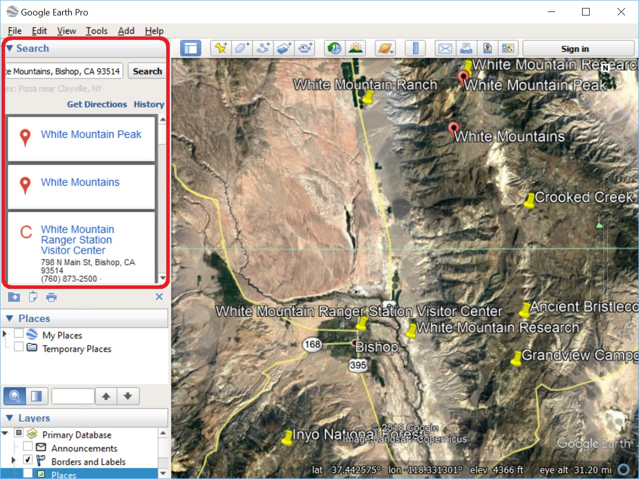 "Screenshot of the Search results for ""White Mountains, Bishop, CA 93514""."