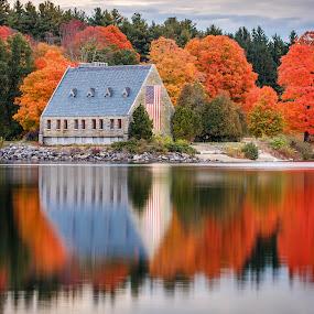 Wachusett Reservoir by David Long - Buildings & Architecture Other Exteriors ( fall colors, massachusetts, wachusett,  )