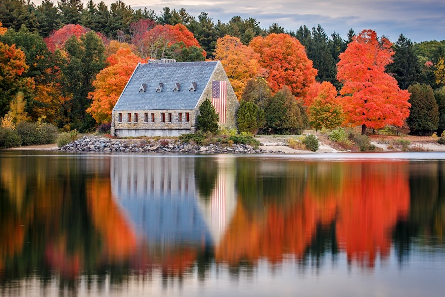 Wachusett Reservoir by David Long - Buildings & Architecture Other Exteriors ( fall colors, massachusetts, wachusett,  )