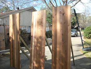 Photo: Tomahawk targets rough cedar boards