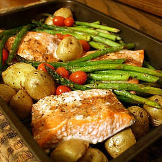 Roasted Salmon, Potatoes, Asparagus & Cherry Tomatoes.