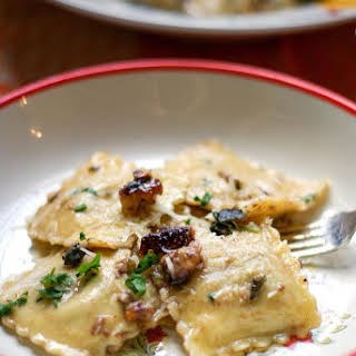 Smoked Cheese Ravioli with brown butter sage walnut Sauce.